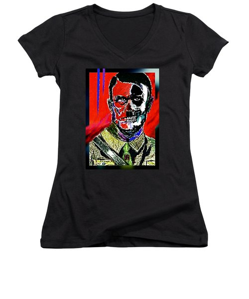 Women's V-Neck T-Shirt (Junior Cut) featuring the painting Hitler  - The  Face  Of  Evil by Hartmut Jager