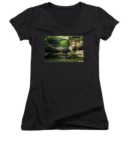 Hocking Hills Waterfall 1 Women's V-Neck