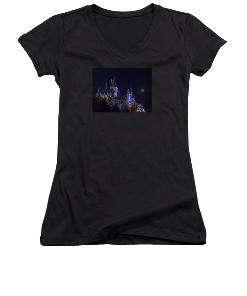 Hogwarts Castle At Night Women's V-Neck T-Shirt (Junior Cut) by Kathy Long