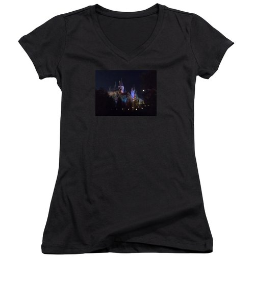 Hogwarts Castle In Lights Women's V-Neck T-Shirt