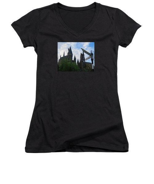 Hogwarts Castle With Signs Women's V-Neck T-Shirt (Junior Cut) by Kathy Long
