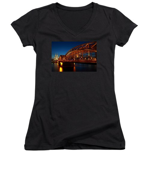Hohenzollern Bridge Women's V-Neck T-Shirt (Junior Cut) by Mihai Andritoiu