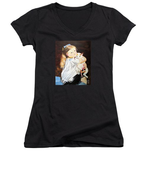 Women's V-Neck T-Shirt (Junior Cut) featuring the painting Holding On by Judy Kay