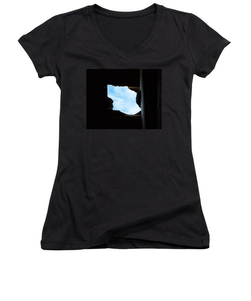Women's V-Neck T-Shirt (Junior Cut) featuring the photograph Hole In The Roof  by Gary Heller