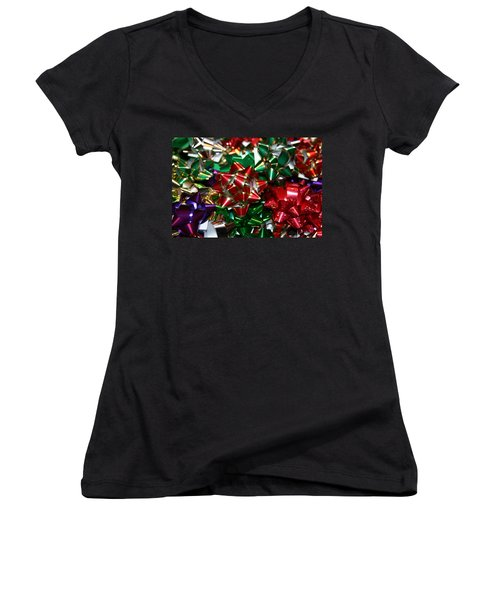Women's V-Neck T-Shirt (Junior Cut) featuring the photograph Holiday Bows by Denyse Duhaime