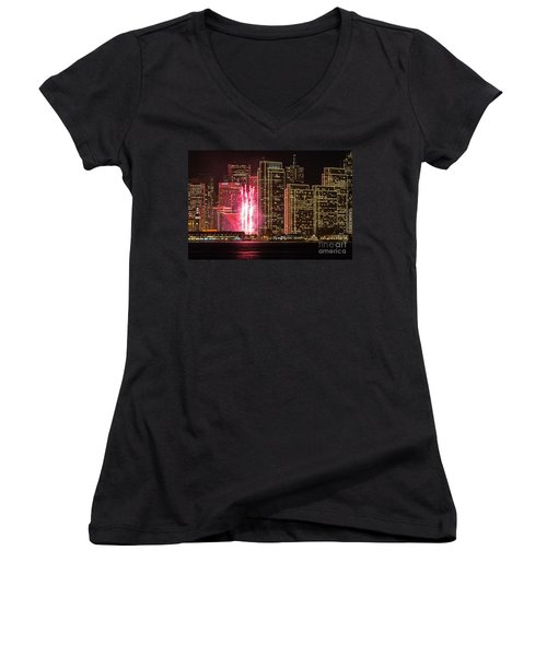 Holiday Lights Women's V-Neck (Athletic Fit)