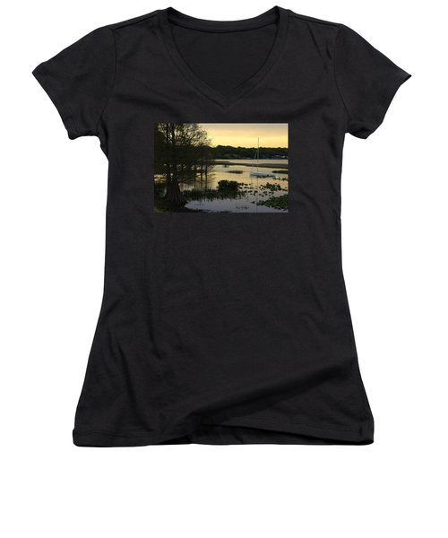 Hollingsworth Sunset Women's V-Neck T-Shirt (Junior Cut) by Laurie Perry