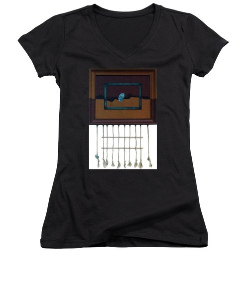 Women's V-Neck T-Shirt (Junior Cut) featuring the painting Hollow by Fei A