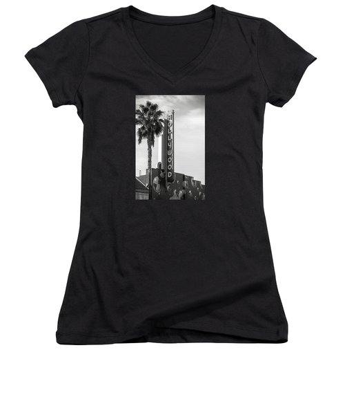 Hollywood Landmarks - Hollywood Theater Women's V-Neck T-Shirt (Junior Cut) by Art Block Collections