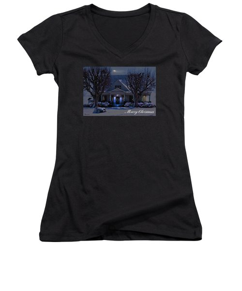 Women's V-Neck T-Shirt (Junior Cut) featuring the photograph Home For Christmas by Bonnie Willis