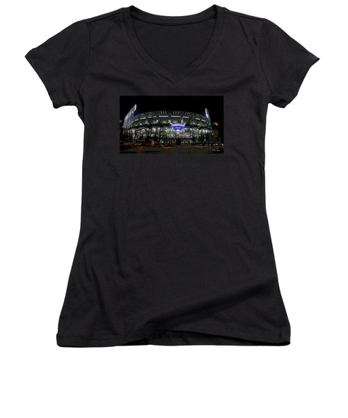 Home Of The Cleveland Indians Women's V-Neck T-Shirt (Junior Cut) by Terri Harper