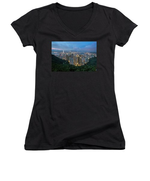Hong Kong From Sky Terrace 428 At Victoria Peak Women's V-Neck (Athletic Fit)