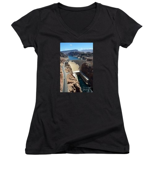 Hoover Dam Women's V-Neck T-Shirt (Junior Cut) by RicardMN Photography