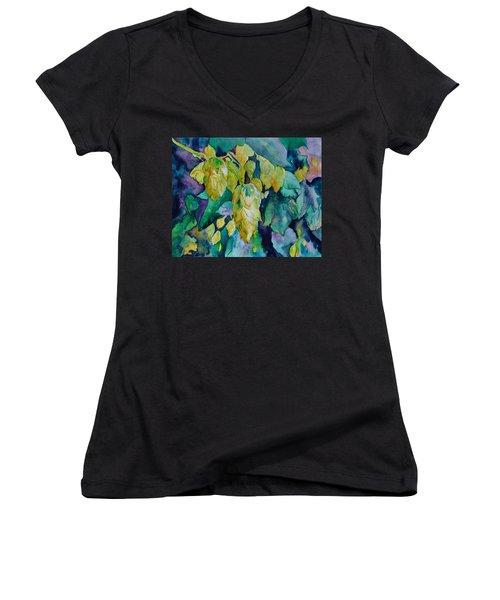 Hops Women's V-Neck T-Shirt (Junior Cut) by Beverley Harper Tinsley