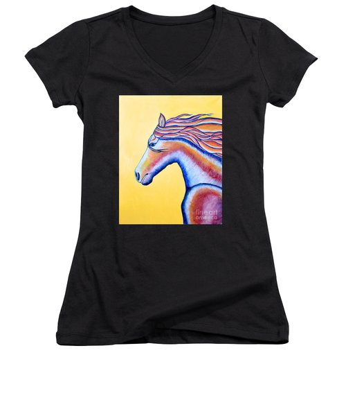 Women's V-Neck T-Shirt (Junior Cut) featuring the painting Horse 1 by Joseph J Stevens