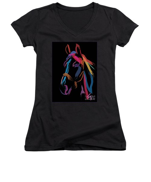 Horse-colour Me Beautiful Women's V-Neck T-Shirt (Junior Cut) by Go Van Kampen