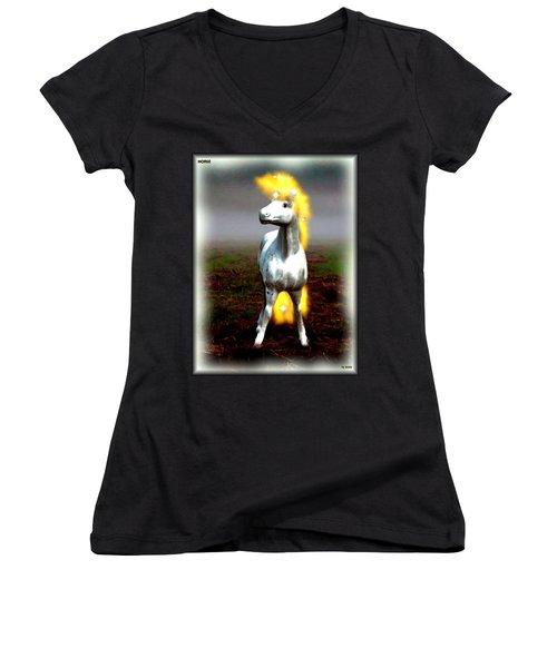 Women's V-Neck T-Shirt (Junior Cut) featuring the digital art Horse by Daniel Janda