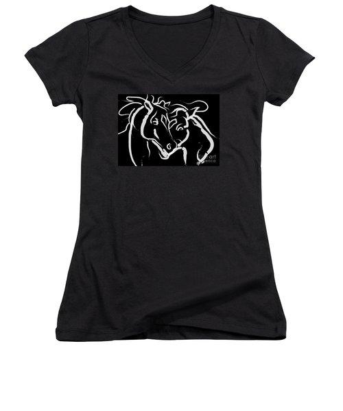 Horse- Together 5 Women's V-Neck T-Shirt