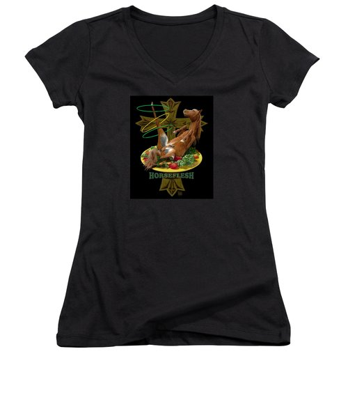 Women's V-Neck T-Shirt (Junior Cut) featuring the digital art Horseflesh by Scott Ross