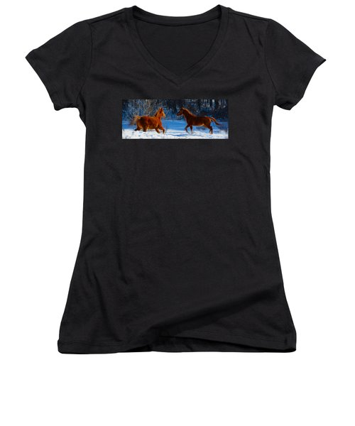 Horses At Play Women's V-Neck (Athletic Fit)