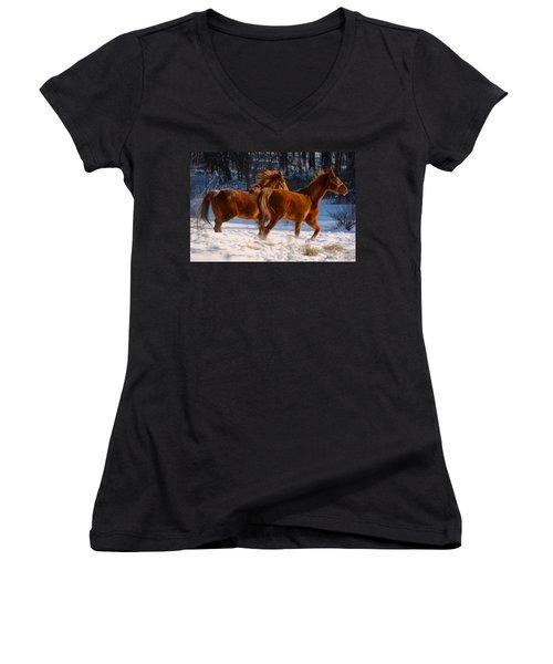Horses In Motion Women's V-Neck (Athletic Fit)