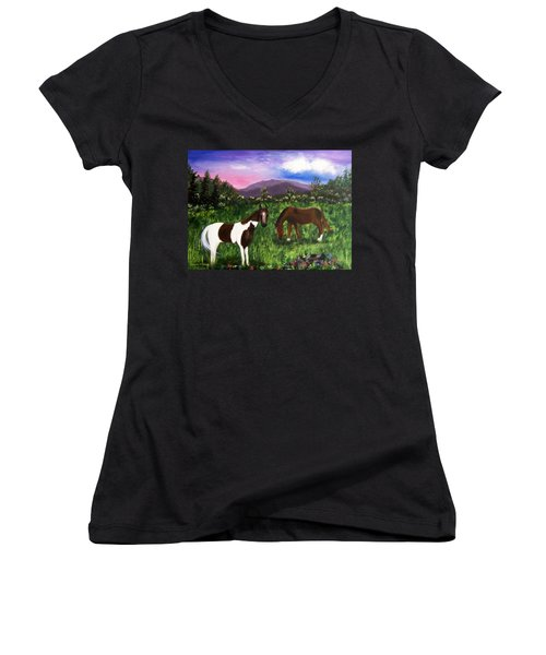 Women's V-Neck T-Shirt (Junior Cut) featuring the painting Horses by Jamie Frier
