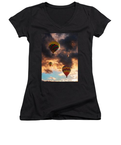 Hot Air Balloons - Chasing The Horizon Women's V-Neck (Athletic Fit)