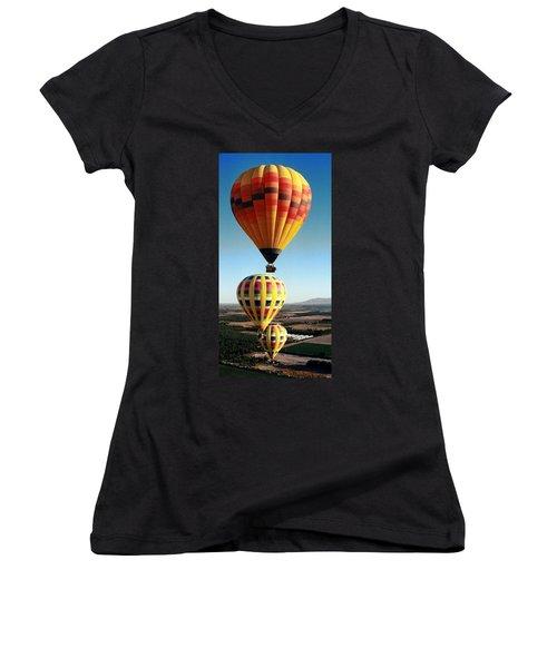 Balloon Stacking Women's V-Neck T-Shirt (Junior Cut) by Richard Engelbrecht