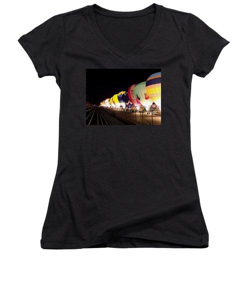 Balloon Glow Women's V-Neck T-Shirt (Junior Cut) by John Swartz
