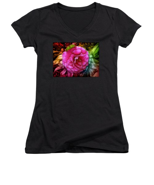 Hot And Silky Pink Rose Women's V-Neck T-Shirt (Junior Cut) by Lilia D