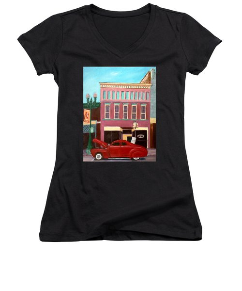 Hot Coffee Women's V-Neck T-Shirt (Junior Cut) by Stacy C Bottoms