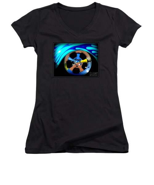 Women's V-Neck T-Shirt (Junior Cut) featuring the photograph Hot Hot Wheels  by Bobbee Rickard
