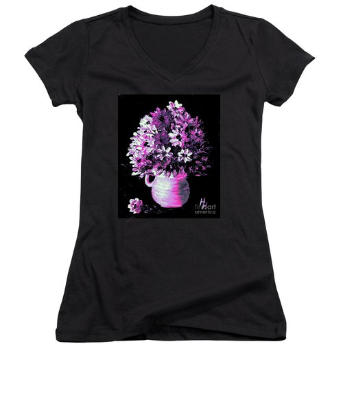 Hot Pink Flowers Women's V-Neck T-Shirt