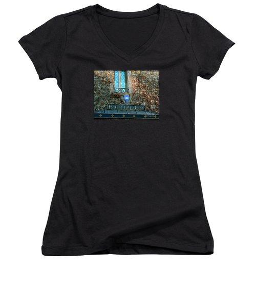 Hotel De La Cite Women's V-Neck T-Shirt (Junior Cut) by France  Art