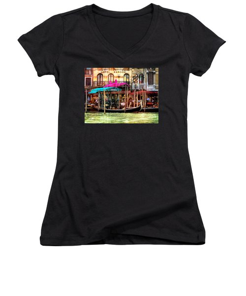 Hotel Marconi.venice. Women's V-Neck (Athletic Fit)