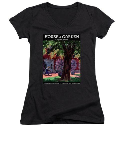 House & Garden Cover Illustration Of A Gardener Women's V-Neck