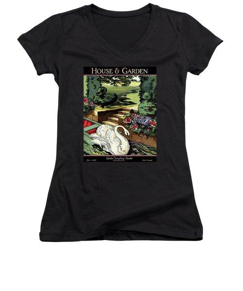 House & Garden Cover Illustration Of A Swan Women's V-Neck