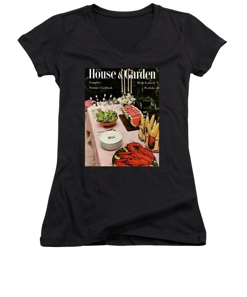 House And Garden Cover Featuring A Buffet Table Women's V-Neck