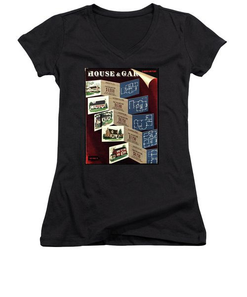 House And Garden Cover Featuring Houses Women's V-Neck