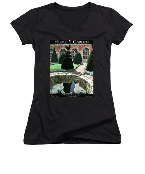 House And Garden Fall Planting Number Cover Women's V-Neck