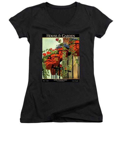 House And Garden Garden Furnishing Number Cover Women's V-Neck