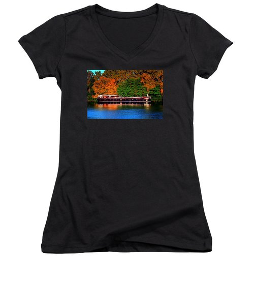 Women's V-Neck T-Shirt (Junior Cut) featuring the photograph House Boat River Barge In France by Tom Prendergast