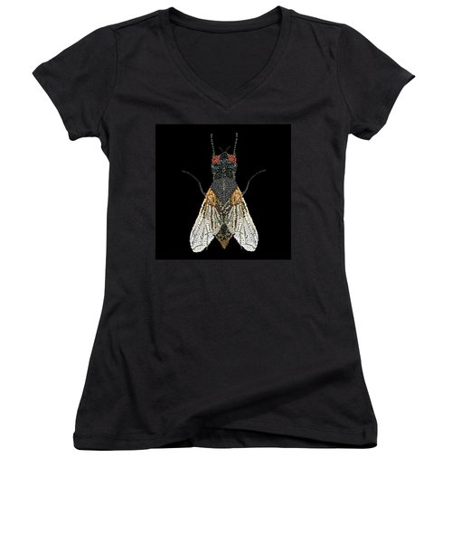 House Fly Bedazzled Women's V-Neck