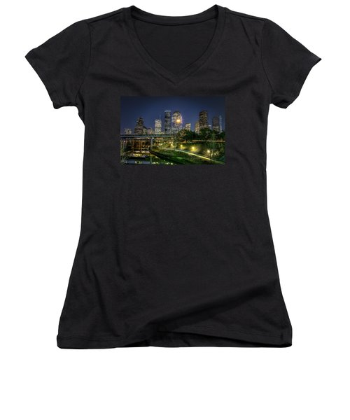 Houston On The Bayou Women's V-Neck (Athletic Fit)