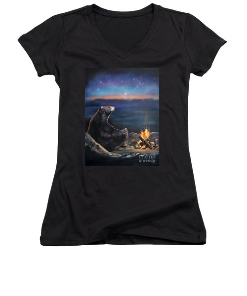 How Grandfather Bear Created The Stars Women's V-Neck (Athletic Fit)