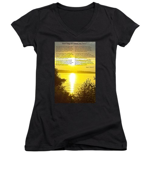 Women's V-Neck T-Shirt (Junior Cut) featuring the photograph How Long Till Sunset by Tikvah's Hope