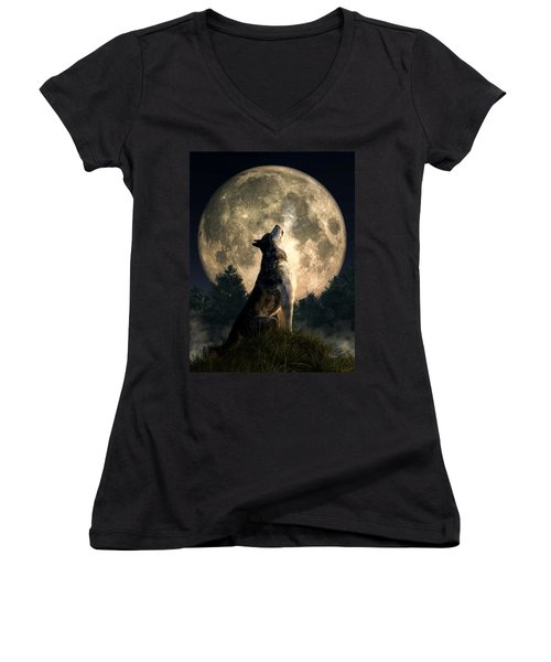 Howling Wolf Women's V-Neck (Athletic Fit)