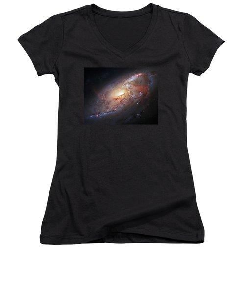 Hubble View Of M 106 Women's V-Neck T-Shirt (Junior Cut) by Adam Romanowicz