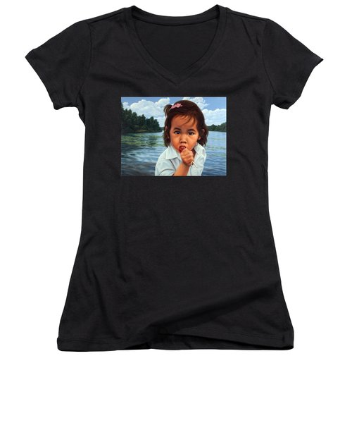 Women's V-Neck T-Shirt (Junior Cut) featuring the painting Human-nature 48 by James W Johnson