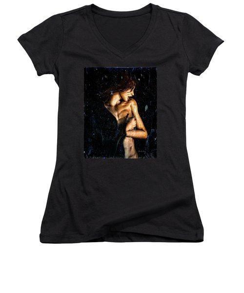 Hunger  Women's V-Neck T-Shirt (Junior Cut) by Bob Orsillo
